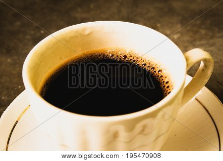 Hot aromatic black coffee for a wonderful breakfast