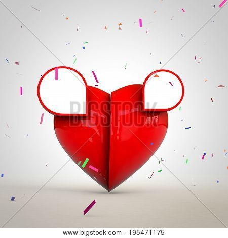 Heart For Valantine on with space for text ads and design. 3D rendering