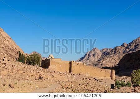 Monastery Of St. Catherine And Mountains Near Of Moses Mountain, Sinai Egypt