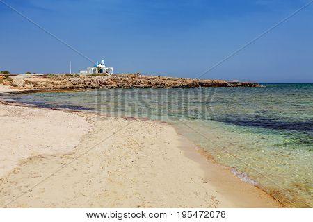 Panoramic Beach Landscape With Ayia Thekla (saint Thecla) Church Near Of Ayia Napa And Cavo Greco, C