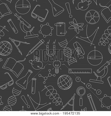 Seamless pattern on the theme of science and inventions diagrams charts and equipmentlight simple contour icons on a dark background