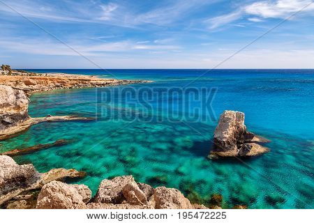 Beautiful Natural Rock Near Of Ayia Napa, Cavo Greco And Protaras On Cyprus Island, Mediterranean Se