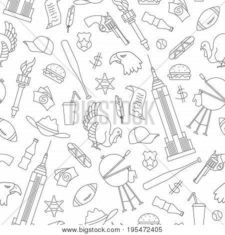 Seamless pattern on the theme of journey in the country of America simple contour icons on white background