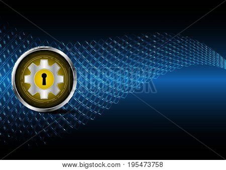 Technology Digital Future Abstract Cyber Security Circle Gear Keyhole Background