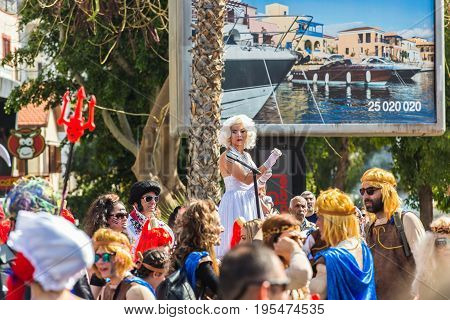 Carnival parade with colorful costumes in Limassol.