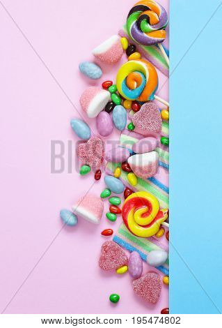 Sweet multicolored drag?es candy and jelly sweets poster