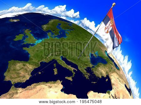 Serbia national flag marking the country location on world map. 3D rendering, parts of this image furnished by NASA