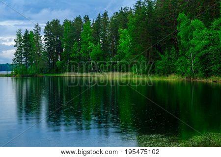 Landscape Of Lakes And Forest Along The Punkaharju Ridge