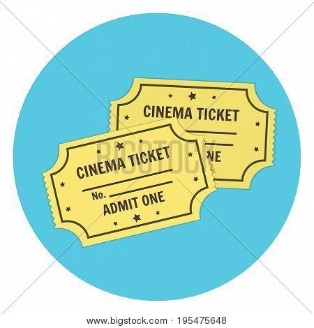 Flat vector yellow retro cinema tickets icon. Colorful cartoon cinematography symbol for print design banner
