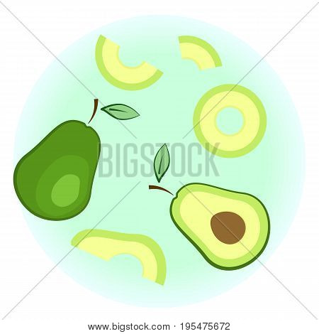 Flat Vector Ripe Avocado Set - Isolated Split Fruit