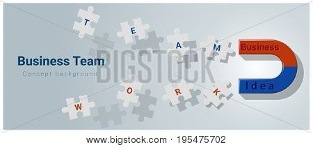 Business team concept background with magnet attracting jigsaw puzzle , vector , illustration