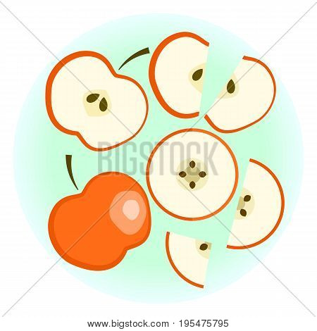 Flat Vector Ripe Red Apple Set - Isolated Split Fruit