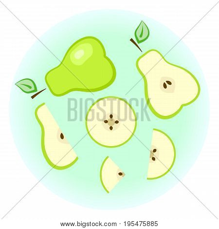 Flat Vector Green Pear Set - Isolated Split Fruit