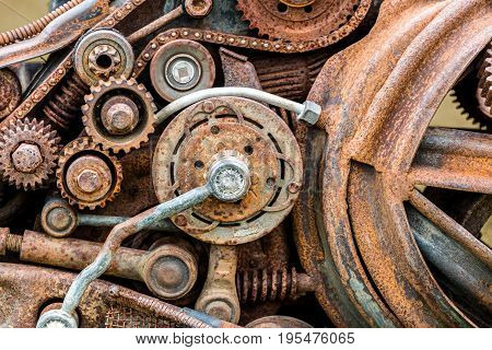 Old Corroded Metal Gears And Other Scratched Details Of Industrial Machine