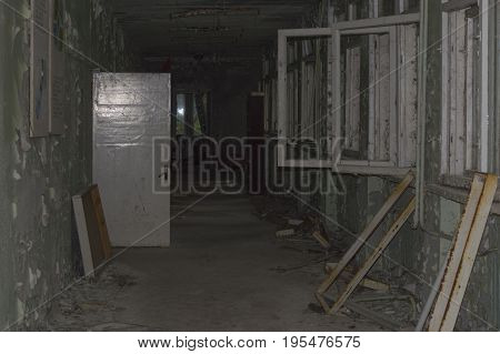 Abandoned Corridor In Ghost Town of Chernobyl Within Chernobyl Alienation Zone