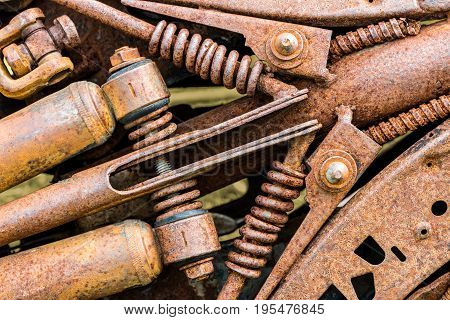 Grunge Corroded Industrial Gear Wheels. Machinery Components Closeup.