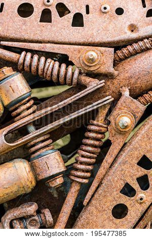 Old Metal Details Of Industrial Machinery Under Corrosion
