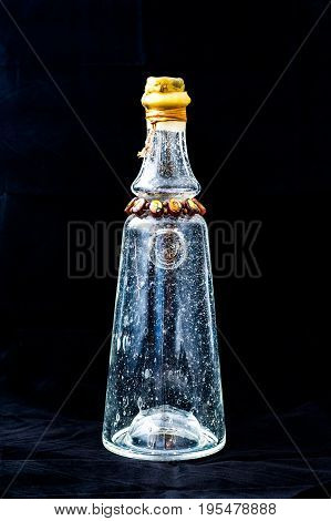 Glass bottle with air bubbles in glass