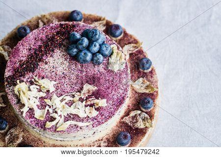 Raw Blueberry Cheesecake. Healthy Handmade Dessert. White Background.