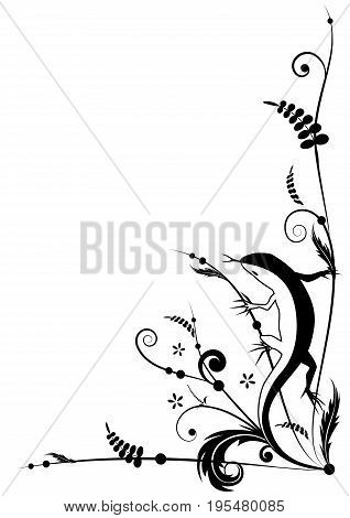 Vector background with lizard in black and white color for corner design