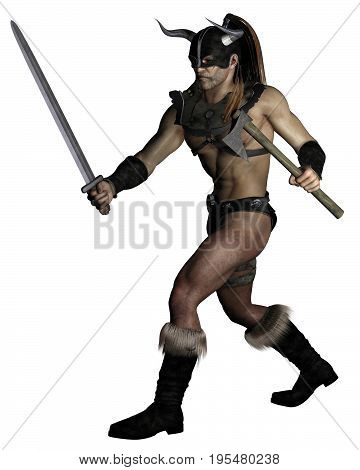 Fantasy illustration of an old muscular barbarian warrior with sword and axe ready to attack, digital illustration (3d rendering)