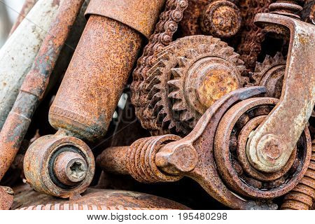 Old Rusty Gear Wheels And Sprockets As Details Of Machine