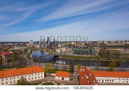 Vilnius modern city center skyline in sunny day