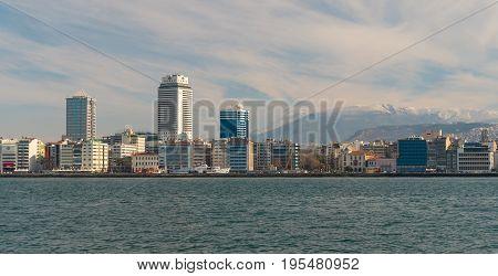 Izmir modern city center skyline in sunny day