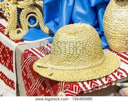 straw hat on slavic linen handmade. Culture of Belarus