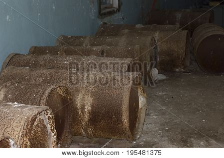 Abandoned Rusty Metal Barrels in Ghtost City of Pripyat