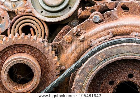 Corroded Details Of Old Industrial Equipment. Old Mechanism Closeup.