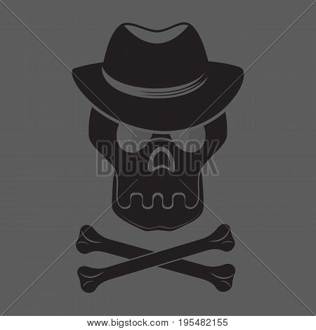Skull and crossbones with hat and glasses