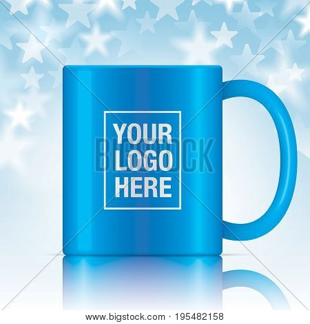 Blue vector coffee mug template isolated on a starry background. Vector mug mockup for your design.