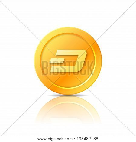 Dash coin symbol icon sign emblem. Vector illustration.