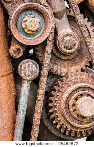 Rusty Sprockets And Gearwheels Of Old Industrial Machine