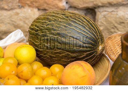 texture of melon, tropical fruit, Cucumis melo. Set of different fruits, honeydew cantaloupe Cucumis melo Cucurbitaceae cantaloupo