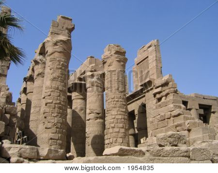 Old ruins in the Temple of Amon-Re Karnak Luxor Egypt poster