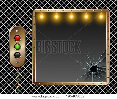 Industrial Vector Background. Metal Frame. Brass Buttons With Illumination. Broken Glass. Illuminati