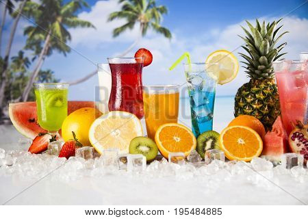 Variety of cold drinks, Summer