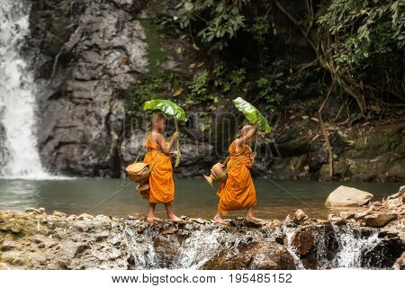 The little Monks thailand walking in the nature at waterfallThe activities of novice in natures at Asia.