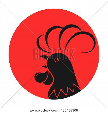 Head of the cock against the background of the sun. Rooster vector emblem for a poultry factory, for a chicken store.