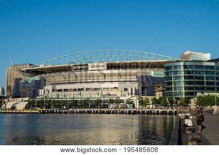 Melbourne Australia - January 6 2017: Etihad Stadium is a multi purpose sport stadium in Victoria Harbour in Melbourne's Docklands district.