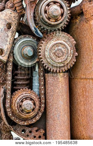 Old Industrials Machinery. Grunge Corroded Gear Wheels And Other Details.