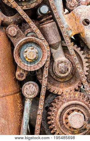 Grunge Rusty Gear Wheels And Other Components Of Industrial Machinery