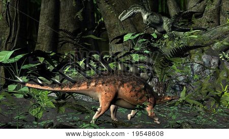 kentrosaurus in jungle poster