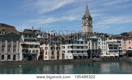 ZURICH, SWITZERLAND : View of historic Zurich city center, Limmat river and Zurich lake, Switzerland. Zurich is a leading global city and among the world's largest financial center