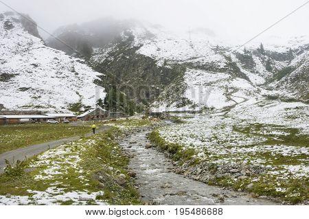 Verbella Alp With Snow In Summer, Austria