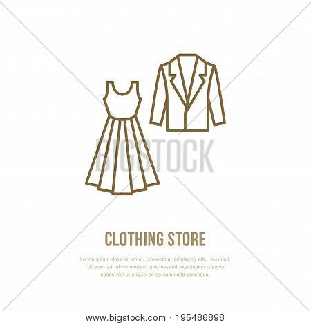 Wedding cocktail dress, men suit icon, clothing shop line logo. Flat sign for apparel collection. Logotype for laundry, dry cleaning.