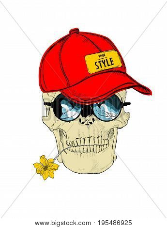 Illustration Of A Skull In A Baseball Cap, Glasses, With A Flower In The Teeth. Isolated Over White