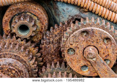 Rusty Corroded Parts Of Old Industrial Mechanism